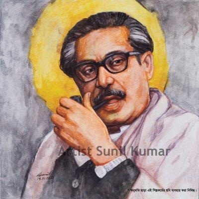 bangabandhu-(mohanayak-4)-the-father-of-the-nation-of-bangladesh-size:-14-x-15-year:-2020-price:-300-(copyright-artist)