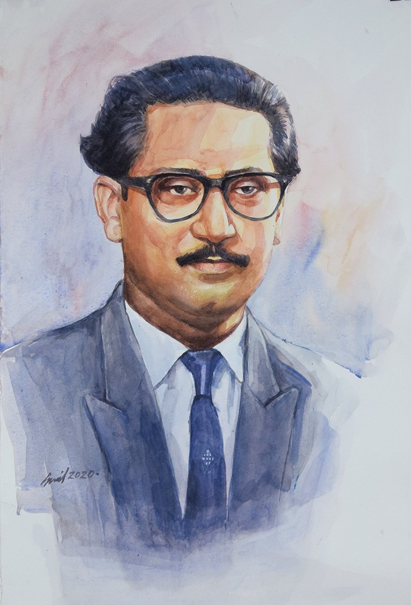 'Sheikh Mujibur Rahman', the father of the nation of Bangladesh.